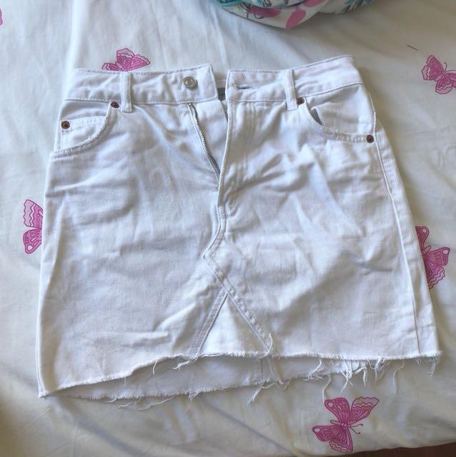 Top Shop White Denim Skirt Size 8