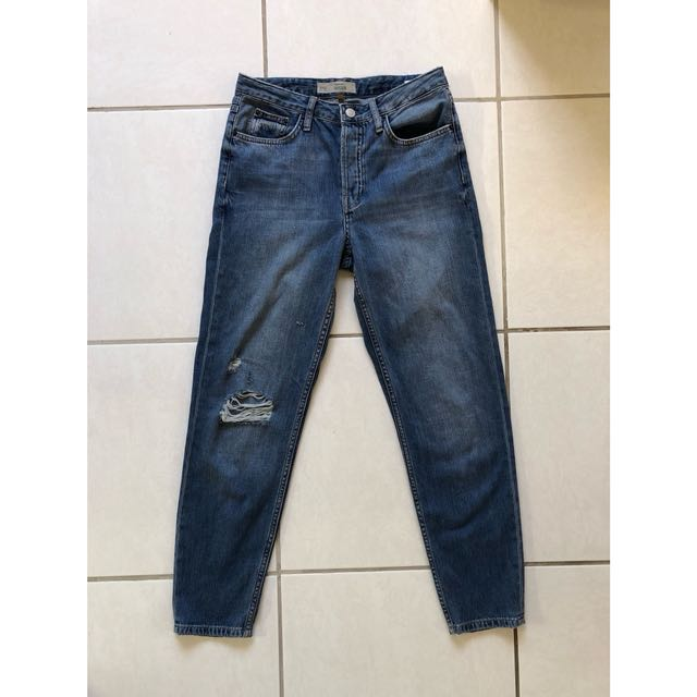 Topshop Motto Hayden Boyfriend Mid Wash Jeans