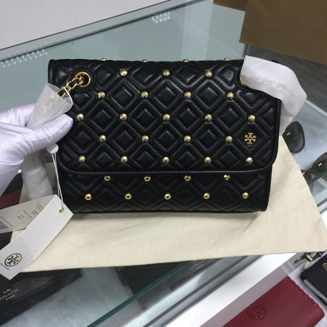 d01300fdc912 Tory Burch Fleming Stud Small Convertible Shoulder Bag black