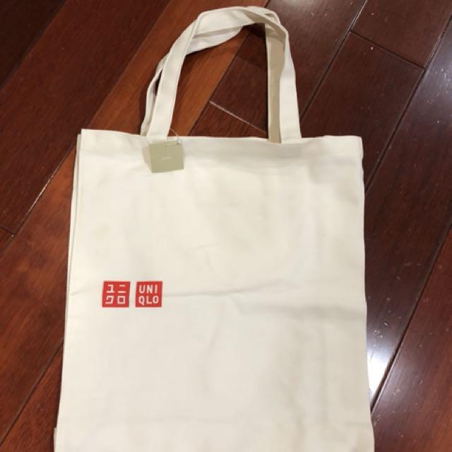 全新uniqlo帆布原色購物袋帆布袋購物袋帆布包耐重實用