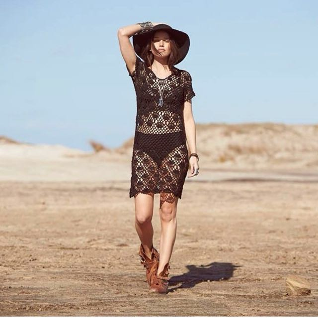 Vintage Auguste the Label black crochet dress