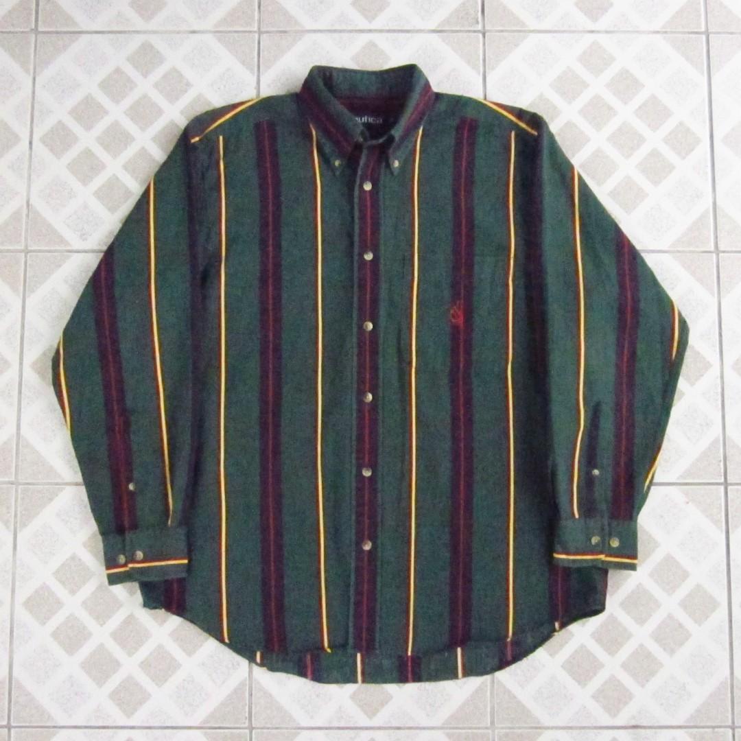 Vintage Nautica Vertical Striped Long Sleeves Shirt