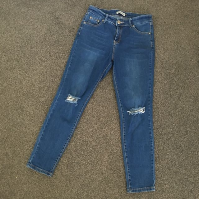 Womens Wakee Blue denim Jeans size 11 Ripped Knees Super Stretch Hi-rise Skinny
