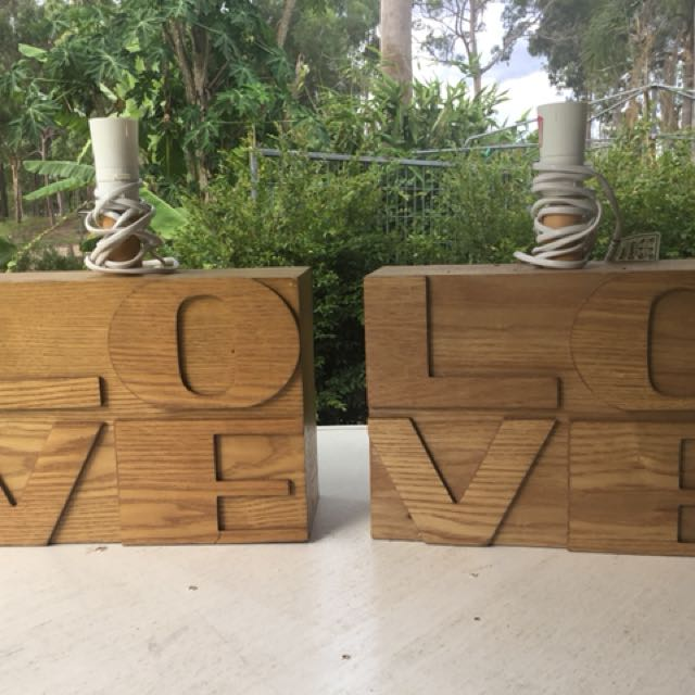Wooden LOVE Lamp Bases x 2