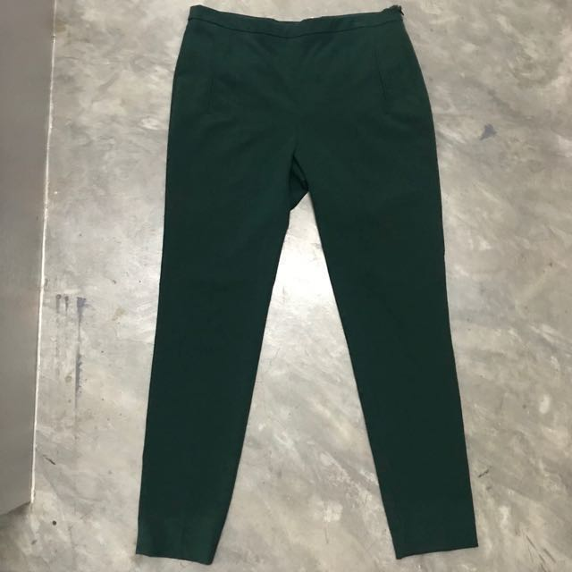 Zara Green Cigarette Pants