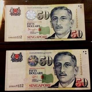 222 SGP $50 Notes