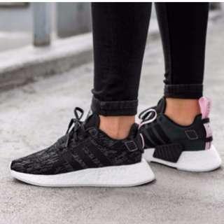 f07990a3e (PO) Adidas Womens NMD R2 Black Glitch Wonder Pink