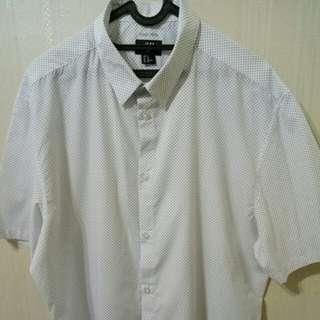 H&M Men White Polkadot Short Shirt