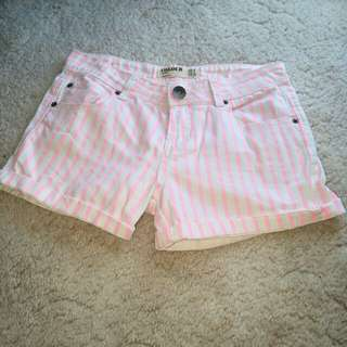 Pink and white Stripped denim shorts