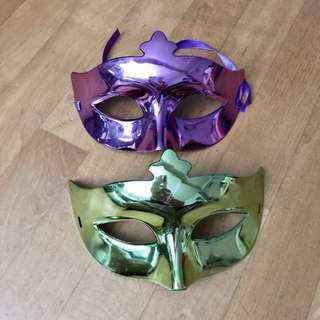 Shiny Purple and Shiny Green Masquerade Party Masks
