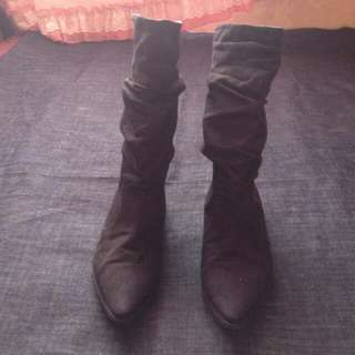 Black siede boots