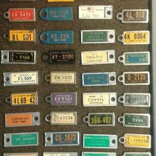 44 vintage keychain auto mini plates