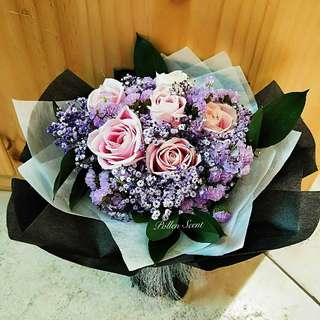 6 stalk pink roses bouquet