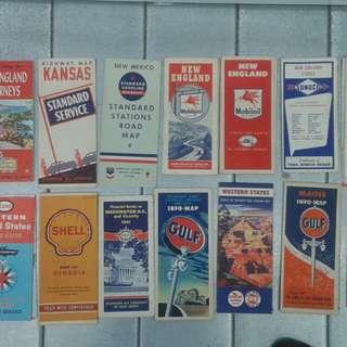 38 Vintage road maps, 1950's, 60's & 70's