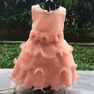 Princess dress in tangerine | 18-24 months