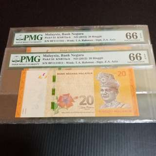 Malaysia RM20 almost solid number -Binary Serial Number 2pcs PMG66EPQ