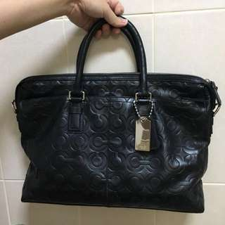 Authentic COACH Leather Briefcase with Monogram