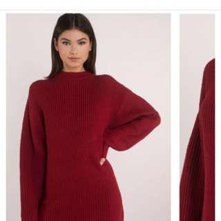 Tobi Red Sweater Dress M/L