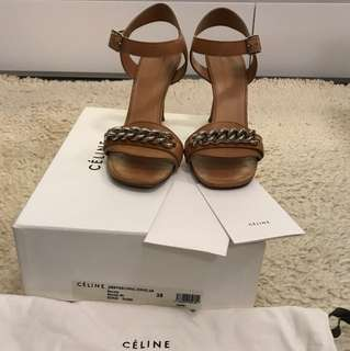 CELINE tan colour high heel sandals with chain