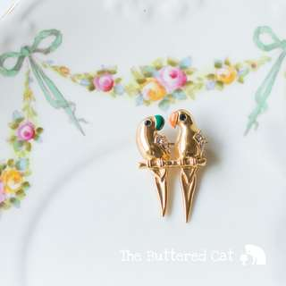 Vintage love birds brooch, gold tone Parakeet brooch