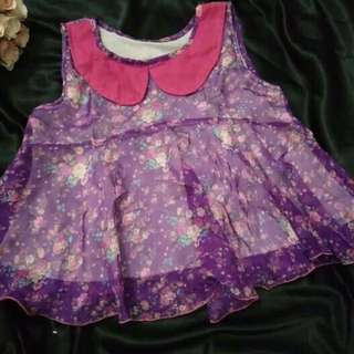 baju atasan crop ungu bunga