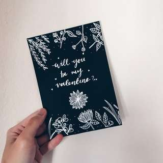 calligraphy valentine card (customizable)