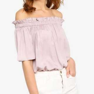 ZALORA Love Off Shoulder Paper Bag Top in Blush
