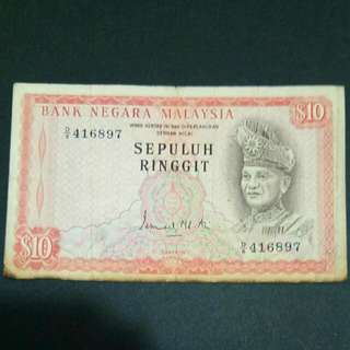 BNM Old 10 ringgit Banknote Currency Money / Wang Kertas Lama Duit