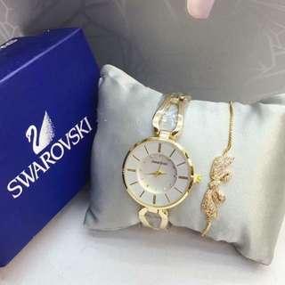 Swarovski Watch with Bracelet set