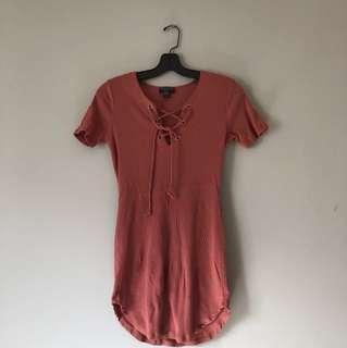Rose ribbed lace up tshirt dress