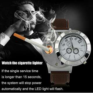 Military Men Watch USB Cigarette Rechargeable Windproof Flameless Lighter Watch