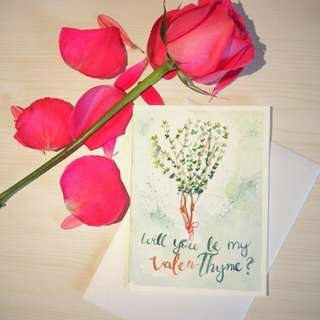 Watercolor Valentine's Day Card (Thyme)
