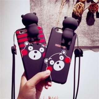 🚚 ★╮MiLu小鋪╭☆【二手免運】熊本熊 立體矽膠軟殼 iphone6 plus手機殼 指環扣 手機支架 手機掛繩 鑰匙圈