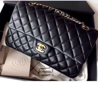 💯Authentic Chanel Lambskin Leather Classic Black Medium Double Flap Bag With Gold Hardware