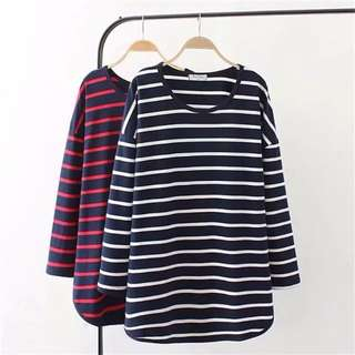(2XL~4XL) Spring new long section T shirt shirt Korean women loose casual striped long-sleeved t-shirt