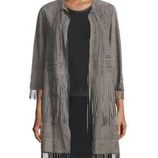 ❗️Price DROP! NEW Elie Tahari Laser-Cut Suede Coat, Grey, Size Small