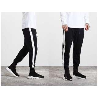 黑白一線 縮口褲