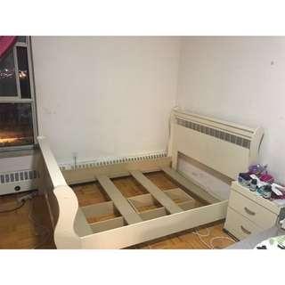 Cream Bed Frame (full mattress)