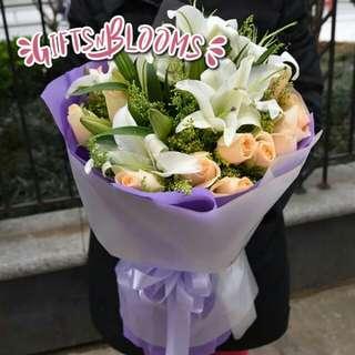 Valentine Bouquet Anniversary Fresh Flower Gift V65 - DYFZFD