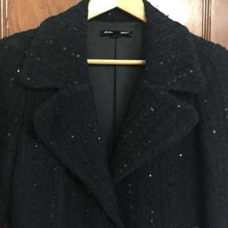 SALE! Betsy Johnson Black Sequin  Coat Sz 6