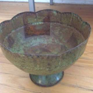 *PRICEDROP* Vintage Patina Metal Footed Floral and Plant Pot