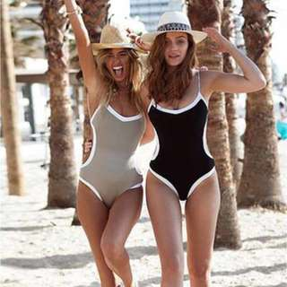 SUE WHITE LINING ONE PIECE SWIMSUIT