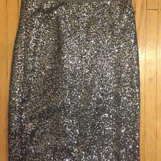 J Crew Silver Sequin Pencil Skirt Sz 6