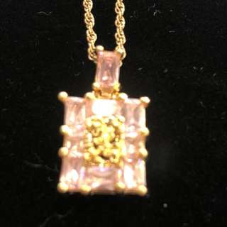 Pink 9ct plated necklace
