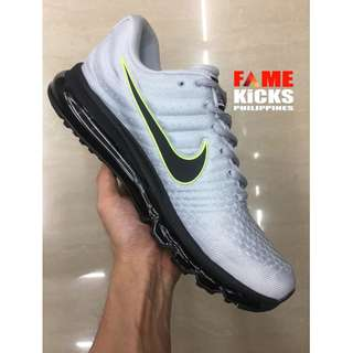 Nike Airmax 2017 Men's and Women's Running OEM Premium Authentic Shoes (Silver and Black)