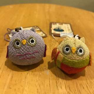 Owl mobile phone accessory from Japan (1 pair)