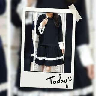 黑色薄連身裙