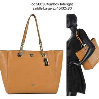 Coach #56830 turnlock tote light saddle Large sz 45/32x30