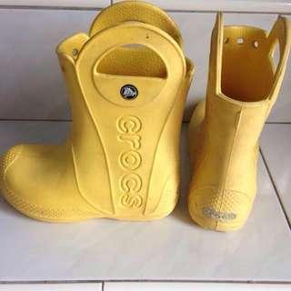 Crocs Yellow Boots Kids size C 12