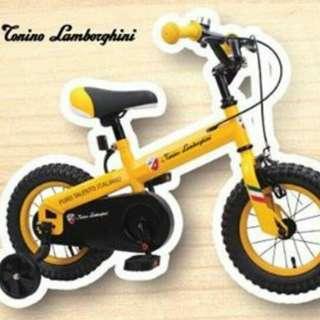 全新林寶堅尼12吋兒童單車(黃色)